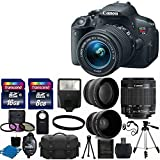 Canon EOS Rebel T5i 18.0 MP CMOS Digital Camera Digital SLR Camera and DIGIC 4 Imaging with EF-S 18-55mm f/3.5-5.6 IS Lens + 58mm 2x Professional Lens +High Definition 58mm Wide Angle Lens + Auto Flash + 59 Strong lightweight Tripod + UV Filter Kit With 24GB Complete Deluxe Accessory Bundle