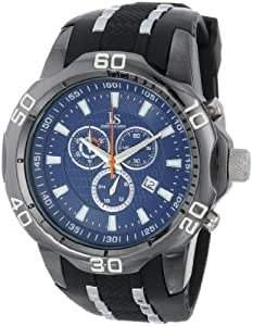 Joshua & Sons Men's JS50BK Black Metal Watch with Two-Tone Silicone Strap
