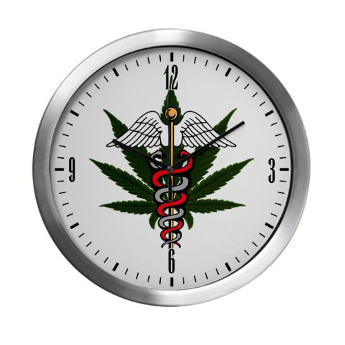 Modern Wall Clock Medical Marijuana Symbol