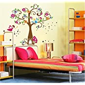 UberLyfe Flying Fairies And Angels On Blessing Tree Wall Sticker (Wall Covering Area: 88cm X 120cm) - WS-000755