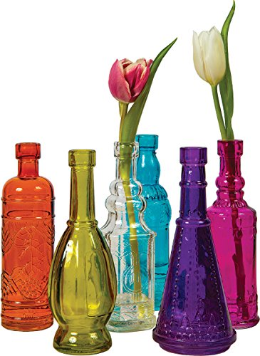 Luna Bazaar Small Vintage Glass Bottle Set (7-Inch, Multicolor Glass, Set of 6) - Flower Bud Vases Bulk - For Home Decor and Wedding Centerpieces (Colorful Glass Vase compare prices)