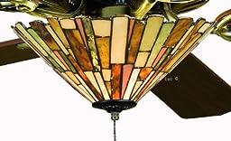 Tiffany Street 25039 Modern Jadestone Stained Glass Ceiling Fan Light Kit