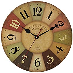 Adalene 12-Inch Vintage Wall Clock Large Decorative Battery Quartz Analog Movement Round MDF Wood Kitchen Clock Colorful Dial Arabic Numerals Cafe de la Tour Paris France Living Room Wooden Wall Clock