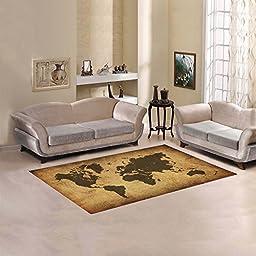 JC-Dress Area Rug Retro World Map Modern Carpet 5\'x3\'3\