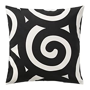 ikea tradklover cushion cover black white 50x50 cm. Black Bedroom Furniture Sets. Home Design Ideas