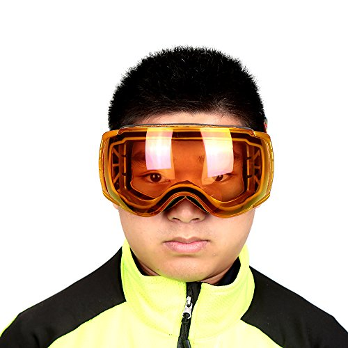 Essential X400 UV Protect Outdoor Sports Ski Snowboard Skate Goggles Motorcycle Cycling Double Lens Anti-fog Eyewear Glasses Orange color