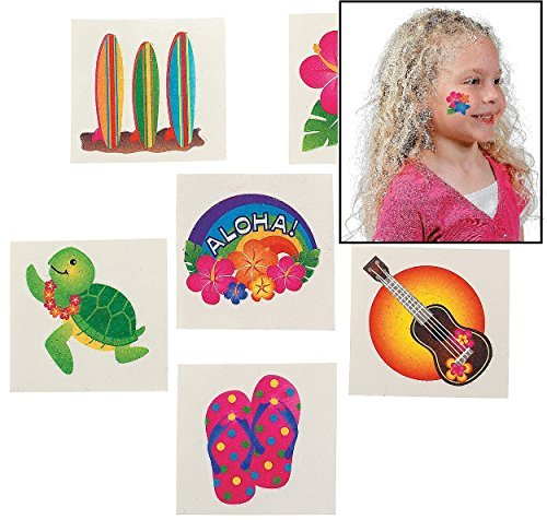 Fun Express Tropical Glitter Tattoos (6 Dozen)
