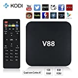 Emish V88 Andriod Tv Box, Smart Multimedia Player, Internet Streaming Media Player Rockchip 3229 Quad-Core EMMC 8GB Infra Remote Control Support for Multiple Mold, Black