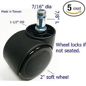 Oajen 2 50mm Soft Wheel Chair Caster Wheel Auto Lock For Hardwood