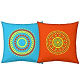 Best Festival Gifts Diwali Christmas New Year Set Of 2 Colourful Rangoli Madana Printed Polyester 12X12 Blue Orange...