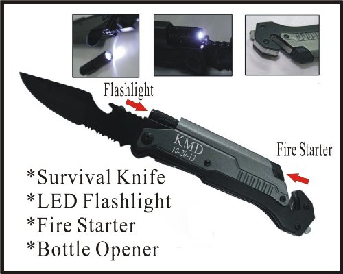 1 Personalized Engraved Pocket Rescue Hunting Knife, Led Flashlight, Bottle Opener, Fire Starter, Groomsman Groomsmen Gifts-Led