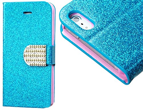 Mylife Shocking Sky Blue And Light Pink {Glitter Chic Design} Textured Koskin Faux Leather (Card And Id Holder + Magnetic Detachable Closing) Slim Wallet For Iphone 5/5S (5G) 5Th Generation Smartphone By Apple (External Rugged Synthetic Leather With Magne
