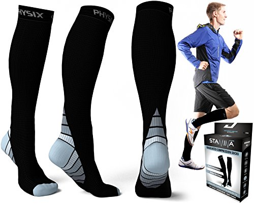 Compression Socks for Men & Women, BEST Graduated Athletic Fit for Running, Nurses, Shin Splints, Flight Travel, & Maternity Pregnancy. Boost Stamina, Circulation, & Recovery - Includes FREE EBook! (Ice Rescue Gear compare prices)