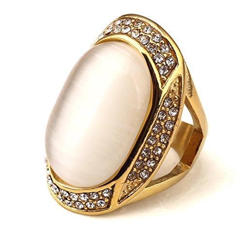 nyuk Unisex Bling gemma moda hip hop acciaio anello in oro, Lega, 53 (16.9), colore: Yellow, cod. W-1903