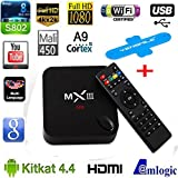 MX3 Android TV BOX 4K Quad Core XBMC 14.0 Android 4.4 KitKat 8GB HDD 1GB RAM WiFi MXIII Streaming Internet Media Player