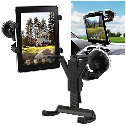 Insten Tablet Windshield Holder Compatible with LG G Pad 8.3 / Sony Xperia Tablet Z / Microsoft Surface 2, Black