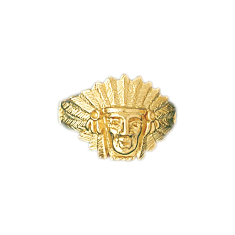 14K Yellow Gold Indian Head Mens Ring