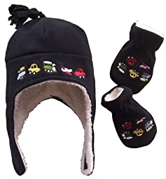 N\'Ice Caps Boys Sherpa Lined Micro Fleece Embroidered Hat and Mitten Set (3-6 Months, Infant - Black)