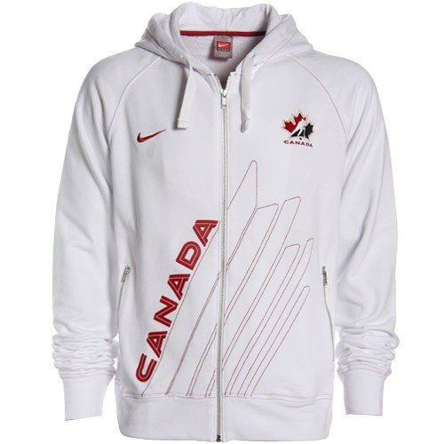 Nike 2010 Winter Olympics Canada White Half Leaf Full Zip Hoody Sweatshirt