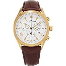 Alexander Heroic Pella Wrist Watch For Men - Brown Leather Analog Swiss Watch - Stainless Steel Plated Yellow Gold Watch - Silver White Dial Mens Chronograph Watch - Mens Designer Watch A021-05