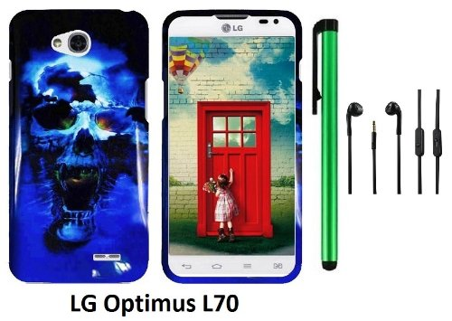 Lg Optimus L70 (Ms323) Premium Pretty Design Protector Hard Cover Case + 3.5Mm Stereo Earphones + 1 Of New Assorted Color Metal Stylus Touch Screen Pen (Blue Skull On Black)