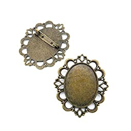 10 Pieces Jewelry Making Findings Antique Bronze Charms Craft Lots Repair Supplies Supply A5DY2 Oval Brooch Pin Cabochon Frame