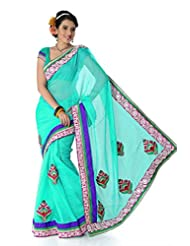 Designersareez Women Net Embroidered Turquoise Saree With Unstitched Blouse(1407)