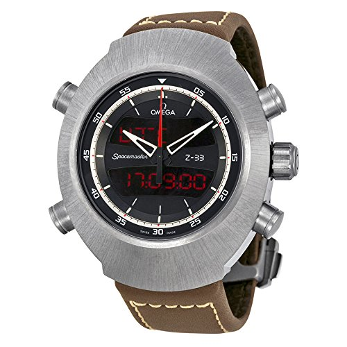 Omega Speedmaster Spacemaster Z-33 Black Analog-Digital Dial Brown Leather Chronograph Mens Watch 32592437901002 (Omega Spacemaster Watch compare prices)