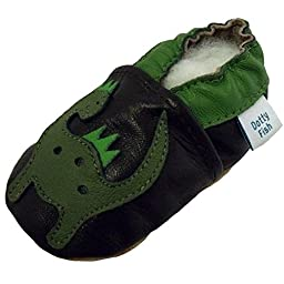Dotty Fish Baby Boys\' Soft Leather Shoe with Suede Soles 2-3 years Brown Green Dinosaur