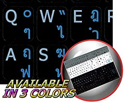 THAI - ENGLISH NOTEBOOK NON-TRANSPARENT KEYBOARD DECALS BLACK, WHITE OR SILVER BACKGROUND (Black Background)