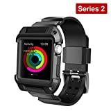 Apple Watch Case Series 2, UMTELE Rugged Armor Protective Case with Strap Bands for Apple Watch Series 2 Sport Edition 42mm Black (Built in Screen Protector)