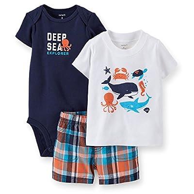 Carter's Baby Boys 3 Piece Nautical Tee, Bodysuit & Shorts Set