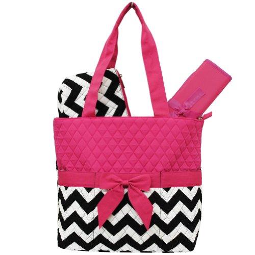 Chevron Print 3pcs Diaper Bag (Hot Pink)