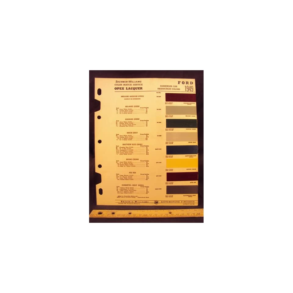 Ford paint colors chip page ford motor company books for Ford motor paint colors
