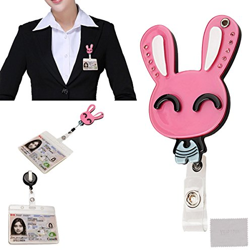 xhorizon TM Fashionable Hot Pink Smiling Rabbit Bunny Cute Lovely Adorable ID/IC Badge Belt Clip Reel Flexible Retractable Holder ZA5