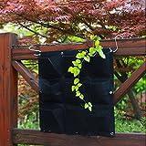 9 Pocket Vertical Greening Hanging Wall Garden Planting Bags Wall Planter (Black)