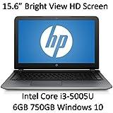 "2016 Newest Premium HP 15.6"" Laptop (Intel Core i3-5005U, HD WLED Backlit Display, 6GB DDR3L RAM, 750GB HDD, USB 3.0, DVD+/-RW, Webcam, HDMI, Windows 10 Home Premium 64-bit, Silver)"