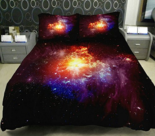 Anlye Stellar Eruption Red Fireball Bedding Sets 2 Sides Printing Stellar Eruption Quilt Duvet Cover Out Space Flat Sheet With 2 Throw Pillow Covers Queen front-830561