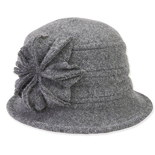 womens-soft-wool-cloche-bucket-hat-with-flower-trim-422-c-grey