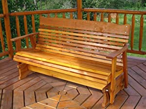 5 Cedar Porch Glider Wstained Finish Amish Crafted from Kilmer Creek