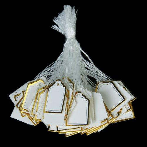 500pcs Étiquettes de Prix avec Cordes Suspendues Affichage de Vente de Bijoux Anneaux - Blanc et d'or