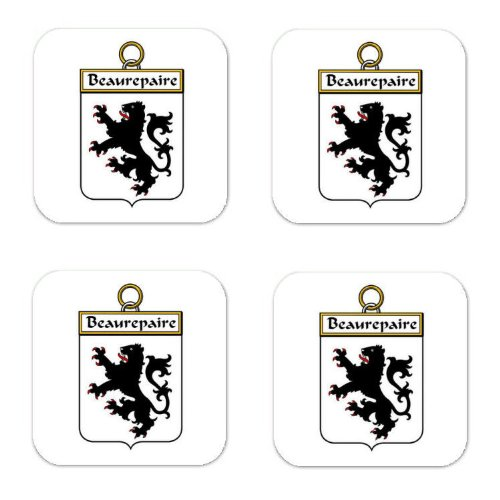 beaurepaire-family-crest-square-coasters-coat-of-arms-coasters-set-of-4