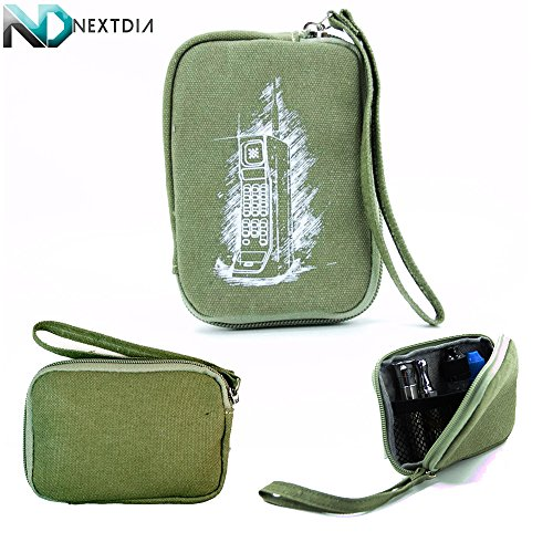 Portable Thin Vape Case Suitable For Jsb E-Hookah Disposable Sticks |Retro Army Green Brick Cellphone Print| + Removable Hand Strap + Nextdia Cable Organizer