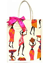 Jivisha Creations Ladies Statues (Pink- Orange Color) Print Jute Bag Carry Bag Travel Bag Gift Bag Shopping Bag...