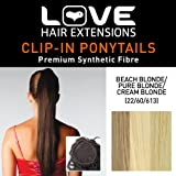 Love Hair Extensions Silky Sue Drawstring Synthetic Hair Ponytail Colour 22/60/613 Beach Blonde/ Cream Blonde/ Pure Blonde 20 -inch