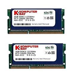 Komputerbay 8GB (2x 4GB) DDR3 SODIMM (204 pin) 1333Mhz PC3-10600 (9-9-9-25) Laptop Notebook Memory for Apple Mac…
