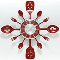 KITCHEN UTENSIL RED BEZEL CLOCK