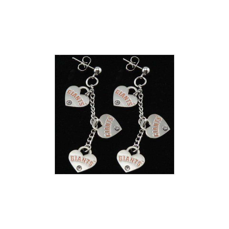 MLB San Francisco Giants Silvertone Triple Heart Earrings