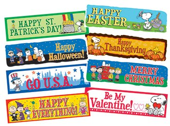 Eureka Peanuts Year of Holidays Mini Bulletin Board Sets