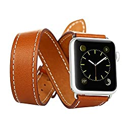 Baseus Apple Watch Band,pinhen Double Tour Sunlord Series Iwatch Band Genuine Leather Watch Strap Wrist Band Replacement Clasp for Apple Watch(double Tour 42mm Brown)